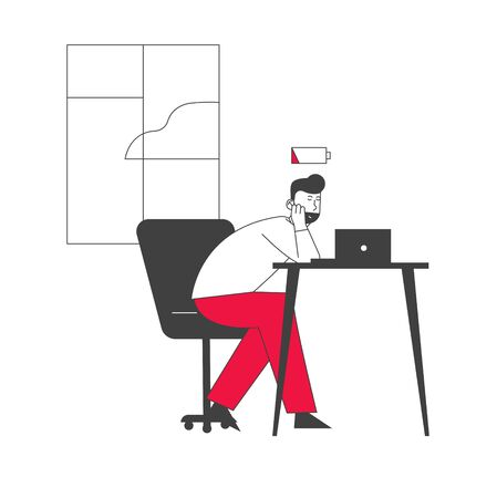 Overwork Burnout Tiredness Fatigue and Depression Concept. Tired Overload Sad Businessman with Low Life Energy Power Working Hard Solving Business Problems. Cartoon Flat Vector Illustration, Line Art