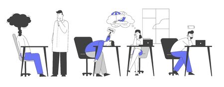 Professional Burnout Syndrome. Exhausted Managers at Work Sitting at Table with Head Down and Low Battery Above. Business Concept of Overload and Tiredness. Cartoon Flat Vector Illustration, Line Art 일러스트