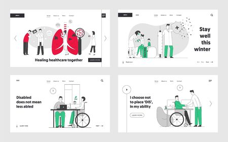 Medical Pulmonological Care, Vaccination, Disabled Employment Website Landing Page Set. Tuberculosis Treatment, Handicapped Hiring Job, Web Page Banner. Cartoon Flat Vector Illustration, Line Art Zdjęcie Seryjne - 138650394