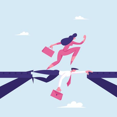 Strongest Will Survive Concept. Businesswoman Careerist Walk on Head of Colleague. Stop at Nothing. Business Woman Overcome Abyss by Back of Businessman like Bridge Cartoon Flat Vector Illustration