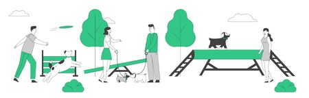 People Spend Time with Pets Outdoors. Male Female Characters Walking and Training Dogs in Summer Park. Relaxing Leisure, Communication Love, Care of Animals Cartoon Flat Vector Illustration, Line Art