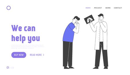Pulmonology Inspection Website Landing Page. Healthcare and Tuberculosis Treatment Doctor Look at X-ray of Diseased Lungs Search Problems Web Page Banner. Cartoon Flat Vector Illustration, Line Art Çizim