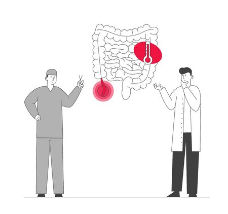 Doctor and Surgeon Stand at Human Intestines with Sore Appendix Infographics Decide Strategy of Treatment. Abdominal Pain, Gastrointestinal System Disease Cartoon Flat Vector Illustration Line Art