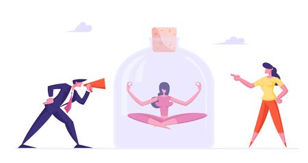 Businessman and Businesswoman Crying to Loudspeaker on Girl Sitting inside of Huge Glass Jar in Meditation Lotus Posture. Employee Ignoring Bulling Violence in Office Cartoon Flat Vector Illustration