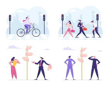 Set of Business Men and Women Riding Bicycle, Walking at City Crosswalk, Making Choice at Crossroad Pointer Isolated on White Background. Businesspeople Busy Lifestyle Cartoon Flat Vector Illustration