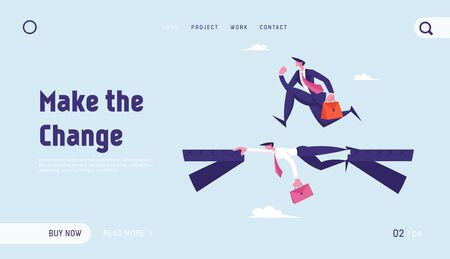 Leadership Challenge, New Opportunity Success Website Landing Page. Business Man Careerist, Social Climber Run over Head of Colleague Like on Bridge Web Page Banner. Cartoon Flat Vector Illustration