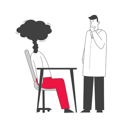 Doctor in White Robe Looking at Businessperson with Steam instead of Head. Professional and Emotional Burnout Concept. Exhausted, Frustrated Worker Need Help Cartoon Flat Vector Illustration, Line Art