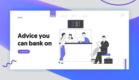 Account Management, Financial Electronic Queuing System Service Website Landing Page. People Wait in Bank Queue Look at Display Number Board Web Page Banner. Cartoon Flat Vector Illustration, Line Art Çizim