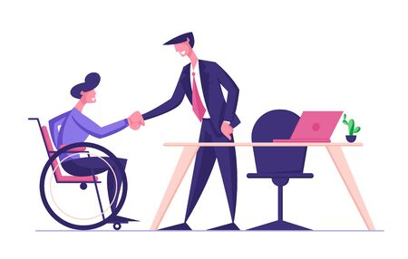 Disabled Man in Wheelchair Shaking Hand with Partner or Boss in Office, Hiring at Work, Share Creative Idea and Opinion. Physically Handicapped Worker Employment. Cartoon Flat Vector Illustration Ilustracja
