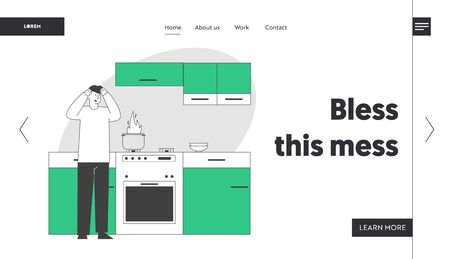 Unhappy Culinary Experience Website Landing Page. Frightened Man Stand at Oven with Burning Fire in Pan. Weekend Chores Housekeeping Process Web Page Banner. Cartoon Flat Vector Illustration, Line Art
