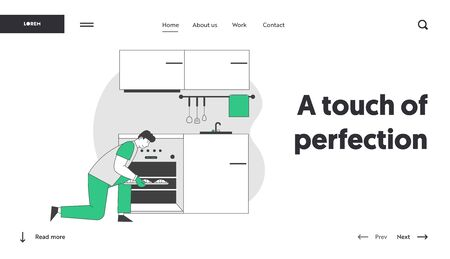 Culinary Experience Website Landing Page. Male Character Cooking Bakes Put Raw Buns into Oven on Kitchen, Housekeeping Duties and Chores Web Page Banner. Cartoon Flat Vector Illustration, Line Art