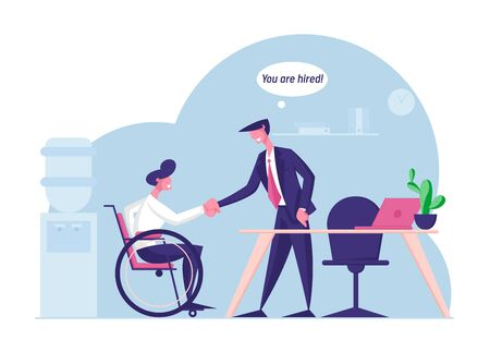 Disability Employment, Work for Disabled People Concept. Handicapped Man Sit in Wheelchair Shaking Hand with Boss or Colleague in Office Introducing with New Workplace Cartoon Flat Vector Illustration Zdjęcie Seryjne - 138652649