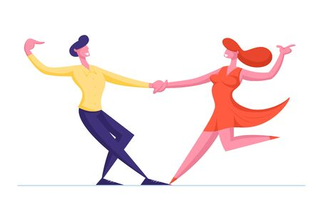 Young Couple Sparetime with Dancing. People Active Lifestyle, Man and Woman in Loving or Friendly Relations Spend Time Together. Disco or Tango Dance Leisure or Hobby. Cartoon Flat Vector Illustration