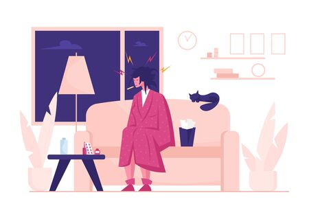 Flu and Sickness Concept with Sick Woman Having Cold. Ill Girl with Thermometer in Mouth Sitting at Home with Pile of Medicine on Table. Seasonal Disease and Illness Cartoon Flat Vector Illustration
