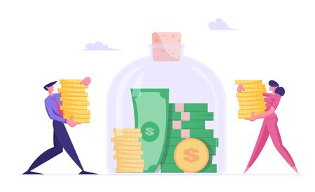 Finance, Investment and Financial Wealth Concept. Rich Businessman and Businesswoman Put Money into Huge Glass Jar