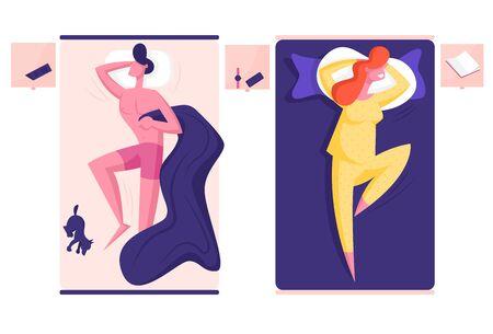 Joven personaje masculino y femenino durmiendo en camas separadas. Hombre desnudo, abrazar, manta, perrito, acostado, al lado, mujer, llevando, pijama, sueño, con, manos, debajo, cabeza, caricatura, plano, vector, ilustración