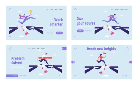 Challenge, Social Climber Stop at Nothing Website Landing Page Set. Careerist Businessman and Businesswoman Crossing Abyss over Head of Colleague Web Page Banner. Cartoon Flat Vector Illustration