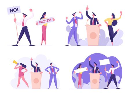 Set of Businesspeople Voting and Election, Pre-election Campaign, Promotion and Advertising of Candidate. Citizens Debating, Holding Empty Banners Political Discussion Cartoon Flat Vector Illustration Illusztráció