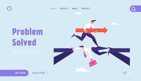 Businessman Goal Achievement, Leadership Career Boost Website Landing Page. Business with Huge Red Arrow Run over Head of Colleague Lying like Bridge Web Page Banner. Cartoon Flat Vector Illustration Illustration