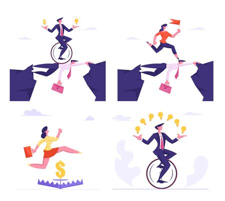 Set of Businesspeople Overcome Difficulties Male and Female Characters Crossing Abyss over Head of Colleague, Jump over Trap, Riding Monowheel Bike on White Background Cartoon Flat Vector Illustration