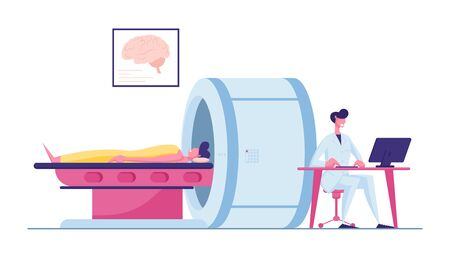 Doctor Looking at Results of Patient Brain Scan on Computer Monitor Screen in Front of Mri Machine with Man Lying Down. Health Care Check Up in Hospital, Scanning Cartoon Flat Vector Illustration