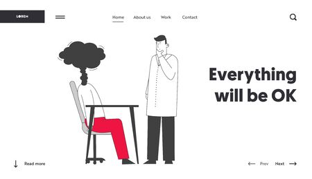 Professional and Emotional Burnout Website Landing Page. Doctor in White Robe Looking at Exhausted Businessperson with Steam instead of Head Web Page Banner. Cartoon Flat Vector Illustration, Line Art Illustration