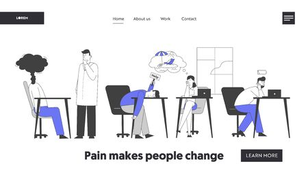 Professional Burnout Syndrome Website Landing Page. Exhausted Managers at Work Sitting at Table with Head Down and Low Battery, Holidays Dream Web Page Banner Cartoon Flat Vector Illustration Line Art