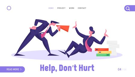Businessman in Stress Deadline or Bulling Situation Website Landing Page. Angry Boss Yelling to Megaphone at Office Worker with Pile of Documents Web Page Banner. Cartoon Flat Vector Illustration Vectores