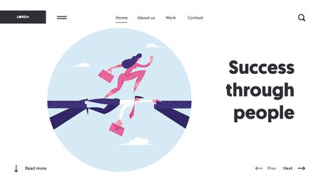 Strongest Will Survive Website Landing Page. Businesswoman Walk on Head of Colleague. Business Woman Overcome Abyss by Back of Man like Bridge Cartoon Web Page Banner. Cartoon Flat Vector Illustration