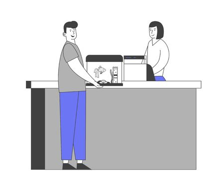 Happy Male Character Stand at Counter Desk in Pet Shop Paying to Saleswoman for Purchasing Aquarium with Fish and Decoration. Man in Zoo Market Buying Fishes Cartoon Flat Vector Illustration, Line Art Ilustrace