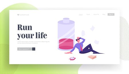 Deadline Overload Website Landing Page. Haggard Businessman Sit near Huge Battery with Low Red Charging and Alarm Clock. Working from the Last Forces. Web Page Banner. Cartoon Flat Vector Illustration