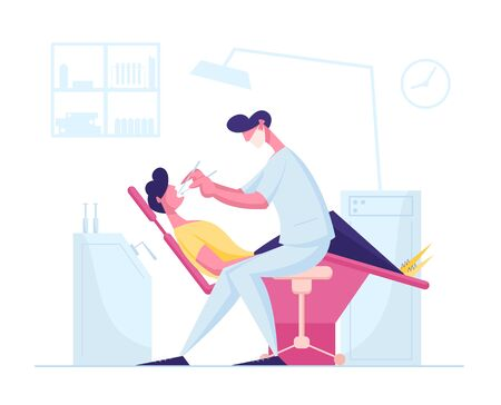 Man Patient Lying in Medical Chair in Stomatologist Cabinet with Equipment. Doctor Dentist Conducting Client Oral Check Up or Treatment Using Professional Instruments Cartoon Flat Vector Illustration