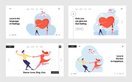 Male and Female Characters Falling in Love Website Landing Page Set. Newlywed Couple, Boyfriend and Girlfriend Иллюстрация