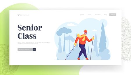 Old Woman Sports Exercise Website Landing Page. Senior Lady Walk with Scandinavian Sticks, Outdoors Fitness Activity, Healthy Lifestyle and Sport Life Web Page Banner. Cartoon Flat Vector Illustration