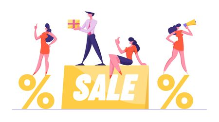 Businesspeople Promoters with Loudspeaker and Gift Box Stand on Huge Sale Banner and Percent Symbols. Discount Promotion Offer Announcement, Advertisement Consumerism Cartoon Flat Vector Illustration