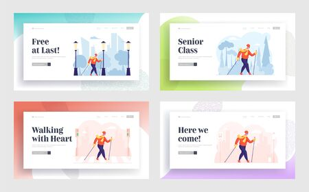 Female Pensioner Healthy Lifestyle Website Landing Page Set. Happy Senior Woman Nordic Walking with Poles, Aged Lady Engage Outdoors Sport Activity Web Page Banner. Cartoon Flat Vector Illustration Ilustrace