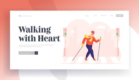 Old Lady Nordic Walk Open Air Workout with Sticks Website Landing Page. Happy Senior Lady Hiking Training on City Street. Pensioner Healthy Lifestyle Web Page Banner. Cartoon Flat Vector Illustration