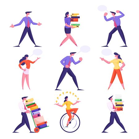 Set of Businesspeople Men and Women Carry Huge Piles of Document Folders, Deadline. Speaking and Yelling on Each Other with Speech Bubbles, Riding Monowheel Bike Cartoon Flat Vector Illustration