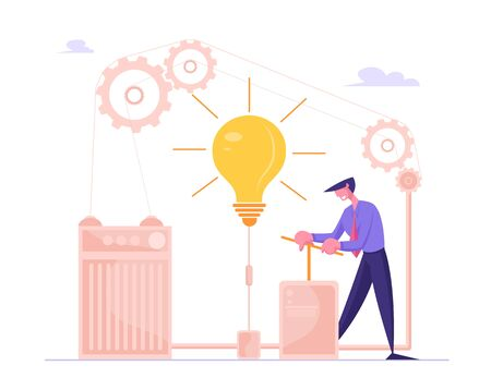 Businessman Push Huge Lever Arm to Switch on Light Bulb inside of Difficult Mechanism with Cogwheels Gears. Creative Idea, Brainstorm Concept. Searching Task Solution Cartoon Flat Vector Illustration Иллюстрация