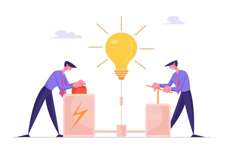 Businessmen Searching Creative Idea Concept. Business People Push Huge Lever Arm and Red Button for Launching Huge Glowing Light Bulb. Creativity Process, Brainstorm. Cartoon Flat Vector Illustration Stock Illustratie