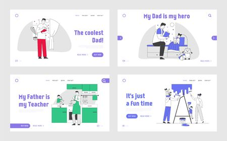 Happy Family Spend Time Together, Single Father Lifestyle Website Landing Page Set. Baby and Dad Leisure Sparetime and Every Day Duties Web Page Banner. Cartoon Flat Vector Illustration, Line Art