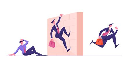 Business People Characters Obstacle Race. Managers Holding Briefcase with Documents Jumping over Barrier Wall on Stadium. Leadership Running, Colleagues Steeplechase. Cartoon Flat Vector Illustration