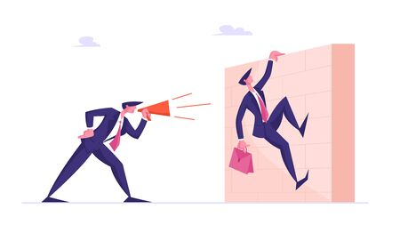 Businessman Boss Shouting in Megaphone on Office Employee Climbing over Wall Barrier with Briefcase in Hand. Deadline, Company Leader Hurry Overwork Worker with Job, Cartoon Flat Vector Illustration Vectores