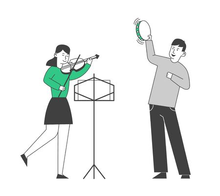 Creative Musical Duet of Boy Playing on Tambourine and Girl with Violin Performing on Stage or having Class in Music School Children Gaining Musical Education Cartoon Flat Vector Illustration Line Art