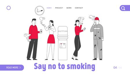 Smoking Addiction and Bad Unhealthy Habit Website Landing Page. Characters Stand near Water Cooler Drinking Coffee and Smoke Cigarettes Web Page Banner. Cartoon Flat Vector Illustration, Line Art