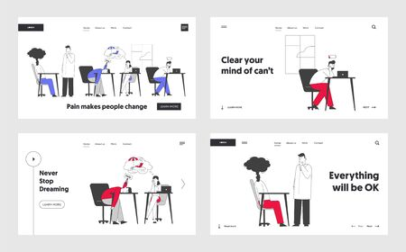 Business Overload and Tiredness Website Landing Page Set. Tired Businesspeople Solving Problems at Work Having Working Burnout Symptoms Web Page Banner. Cartoon Flat Vector Illustration, Line Art