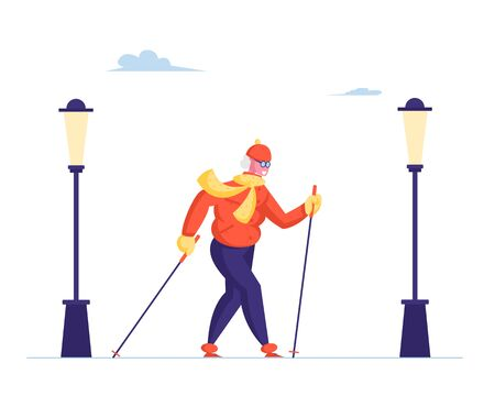 Senior Lady Walking with Scandinavian Sticks on White Background with City Lamps. Outdoor Fitness Activity, Healthy Lifestyle and Sport Life, Old Woman Sports Exercise Cartoon Flat Vector Illustration