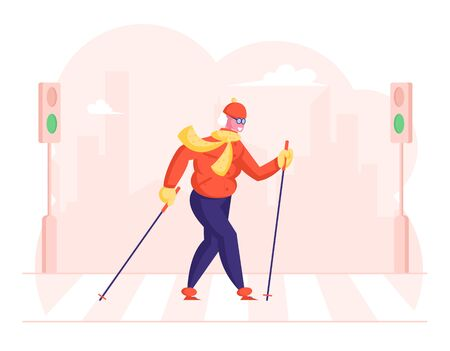 Senior Lady Walking with Scandinavian Sticks Crossing Crossroad at City. Outdoors Fitness Activity, Healthy Lifestyle and Sport Life, Old Woman Morning Sports Exercise Cartoon Flat Vector Illustration