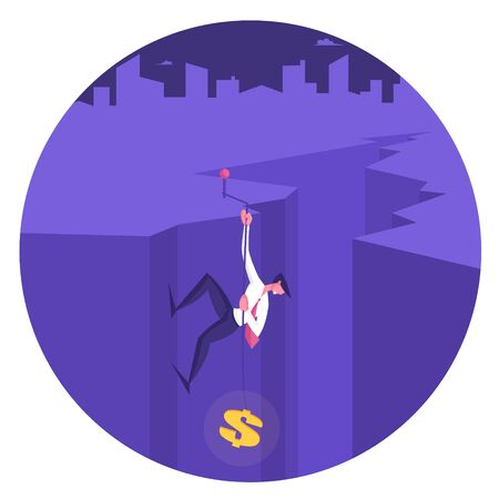 Businessman Character Climbing Up of Deep Cleft by Rope with Dollar Sign on End, Business Man Aiming to Top with Red Pin. Leadership, Success, Goal Achievement Concept Cartoon Flat Vector Illustration