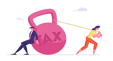 Business Taxation Concept, Businesspeople Pull and Push Huge Heavy Weight with Tax Inscription. Bank Loan, Taxpayers Make Payment Financial Bankruptcy and Poverty Cartoon Flat Vector Illustration Stock Illustratie
